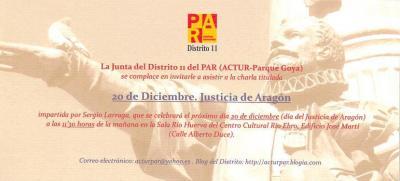 CHARLA SOBRE EL JUSTICIA DE ARAGÓN
